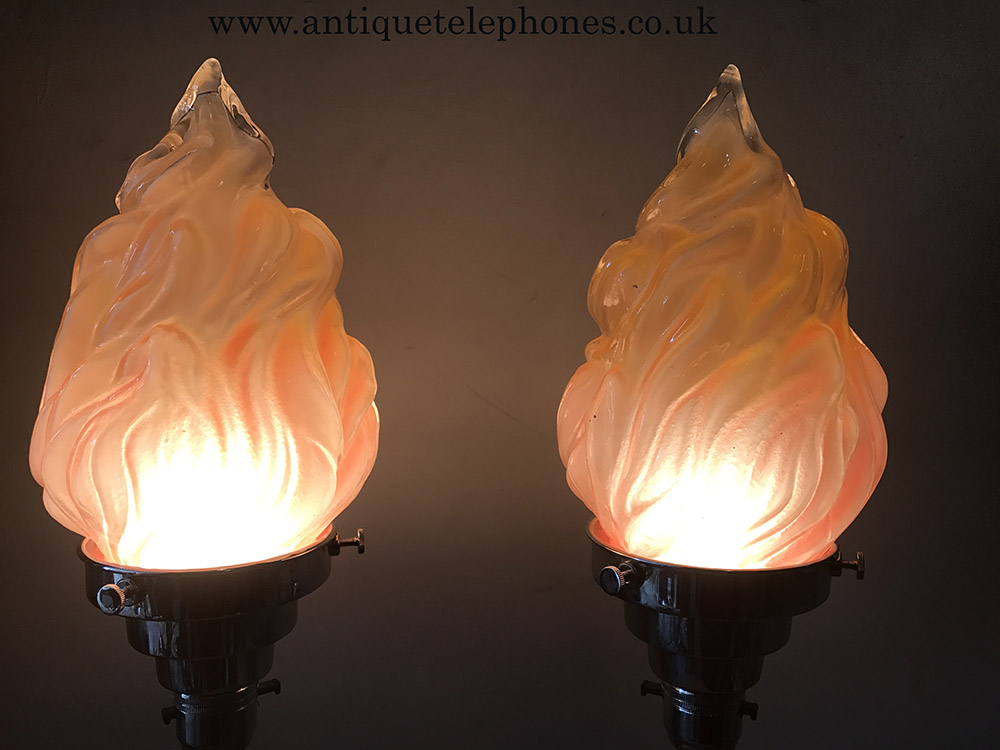 Pair Of Art Deco Chrome With Flame Shaped Glass Shades