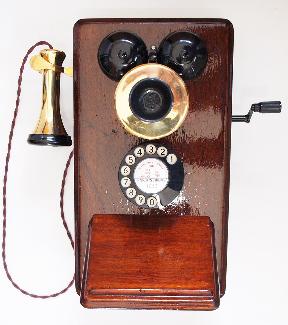 Wooden telephone as used on railway systems with bell receiver. on